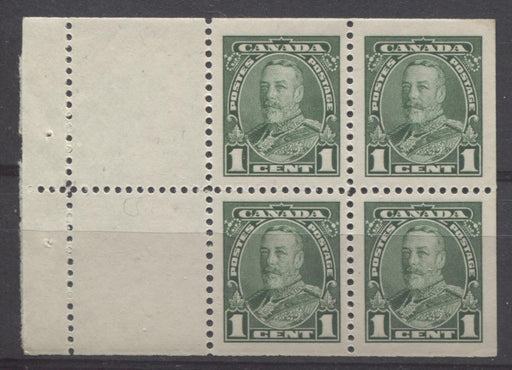 Canada #217a (SG#341b) 1c Green King George V Booklet Pane of 4 + 2 Labels VF-80 NH Brixton Chrome