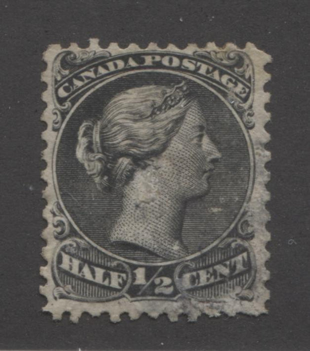 "Canada #21iv 1/2c Black Queen Victoria, 1868-1897 Large Queen Issue, Fine Used Single on Duckworth Paper 4, Perf. 12, Showing ""Spur"" Variety Brixton Chrome"