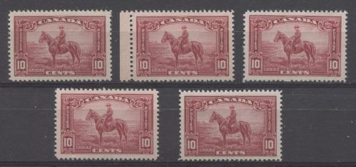 Canada #223i (SG#347) 10c Carmine Red Mountie on Horseback 1935-1937 Dated Die Issue F-70 NH Brixton Chrome