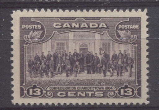 Canada #224 (SG#348) 13c Blackish Purple Charlottetown Conference 1935-1937 Dated Die Issue VF-80 NH Brixton Chrome
