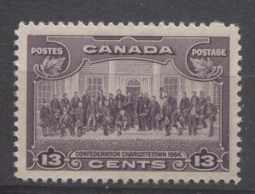 Canada #224 (SG#348) 13c Deep Rose Lilac Charlottetown Conference 1935-1937 Dated Die Issue VF-80 NH Brixton Chrome