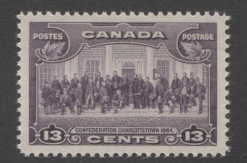 Canada #224 (SG#348) 13c Deep Rose Lilac Charlottetown Conference 1935-1937 Dated Die Issue VF-84 NH Brixton Chrome