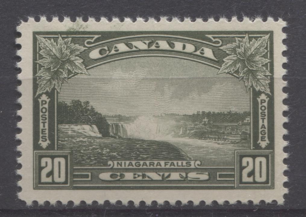 Canada #225 (SG#349) 20c Deep Olive Green Niagara Falls 1935-1937 Dated Die Issue VF-80 NH Brixton Chrome