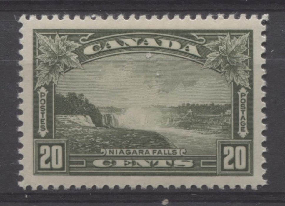 Canada #225 (SG#349) 20c Deep Olive Green Niagara Falls 1935-1937 Dated Die Issue VF-84 LH Brixton Chrome