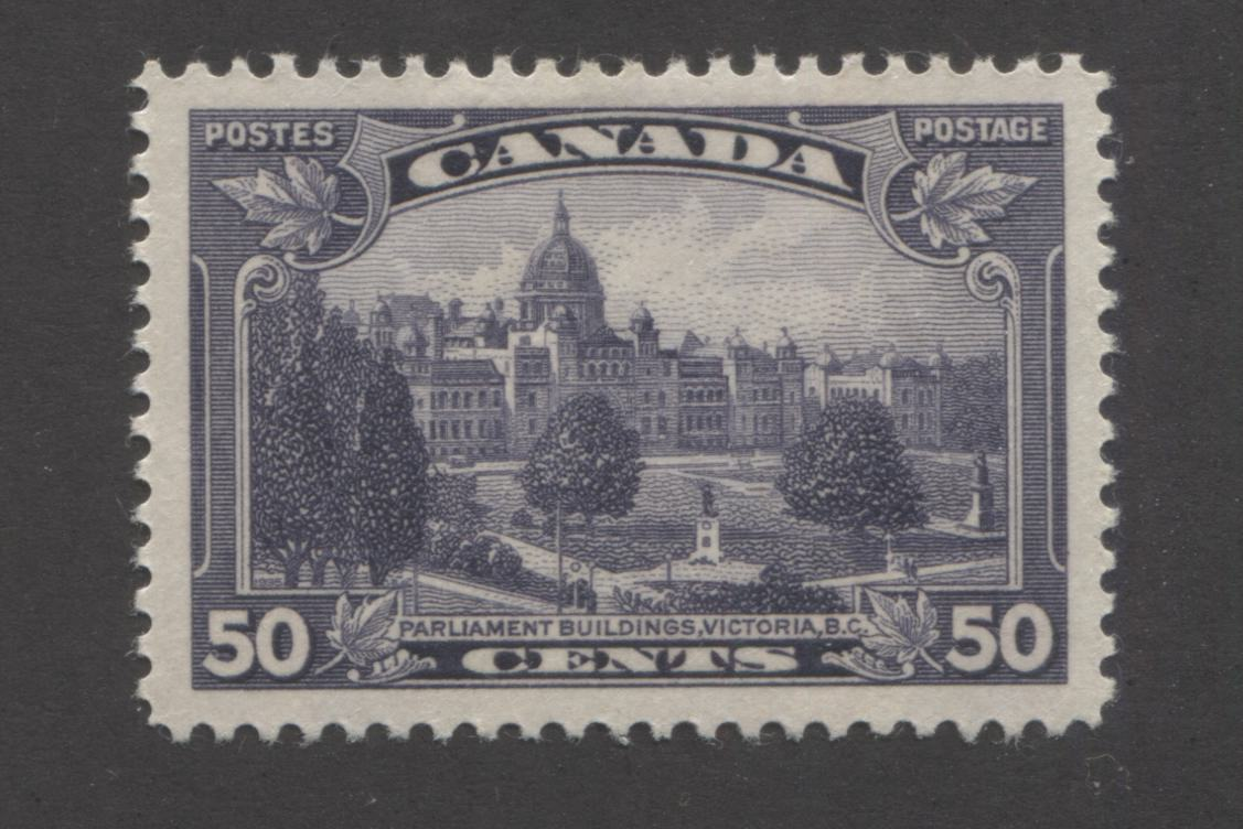 Canada #226 50c Dull Violet, Parliament Buldings, Victoria, BC 1935-1937 Dated Die Issue Very Fine OG Single on Vertical Wove Paper With Light Horizontal Ribbing and Deep Cream Gum Brixton Chrome