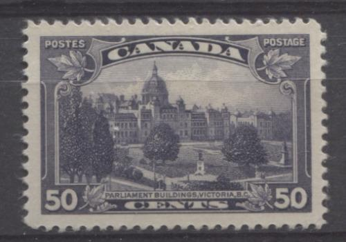 Canada #226 (SG#350) 50c Blackish Lilac Parliament Buildings in Victoria 1935-1937 Dated Die Issue GEM-100 OG Brixton Chrome