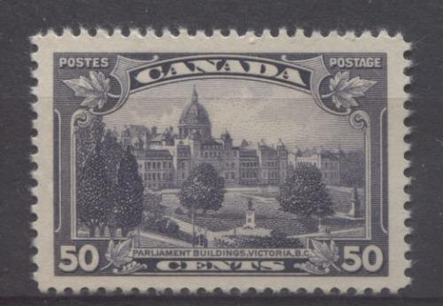 Canada #226 (SG#350) 50c Blackish Lilac Parliament Buildings in Victoria 1935-1937 Dated Die Issue VF-80 OG Brixton Chrome