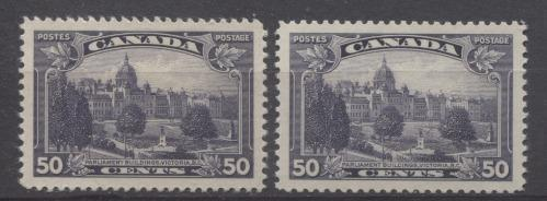 Canada #226 (SG#350) 50c Blackish Lilac Parliament Buildings in Victoria 1935-1937 Dated Die Issue VF-84 Disturbed OG Brixton Chrome