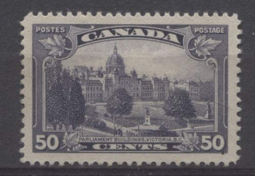 Canada #226 (SG#350) 50c Blackish Lilac Parliament Buildings in Victoria 1935-1937 Dated Die Issue VF-84 OG Brixton Chrome