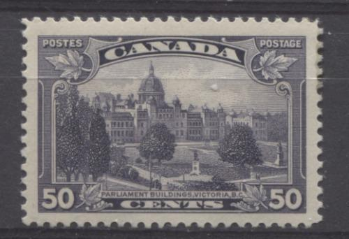 Canada #226 (SG#350) 50c Dull Blackish Lilac Parliament Buildings in Victoria 1935-1937 Dated Die Issue VF-78 OG Brixton Chrome