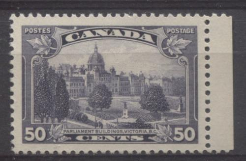Canada #226 (SG#350) 50c Dull Blackish Lilac Parliament Buildings in Victoria 1935-1937 Dated Die Issue VF-84 OG Brixton Chrome