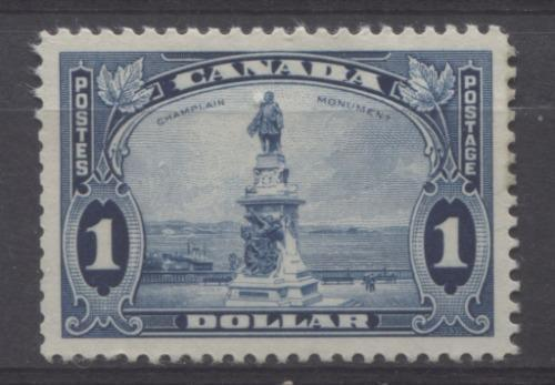 Canada #227 (SG#351) $1 Deep Blue Champlain Monument 1935-1937 Dated Die Issue VG-62 OG Brixton Chrome