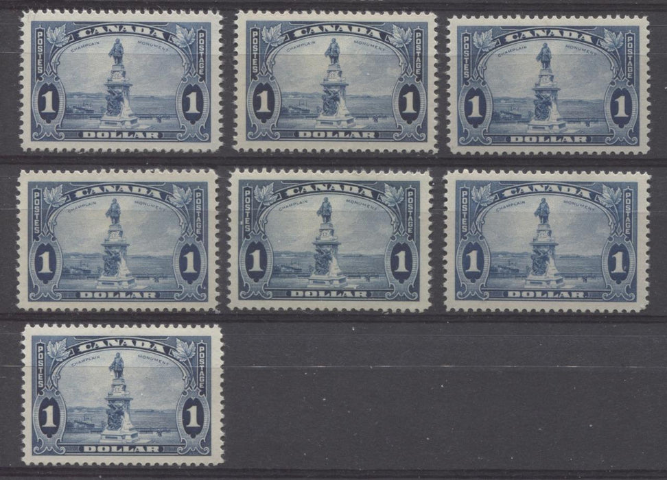 Canada #227 (SG#351) $1 Deep Prussian Blue Champlain Monument 1935-1937 Dated Die Issue VF-80 NH Brixton Chrome