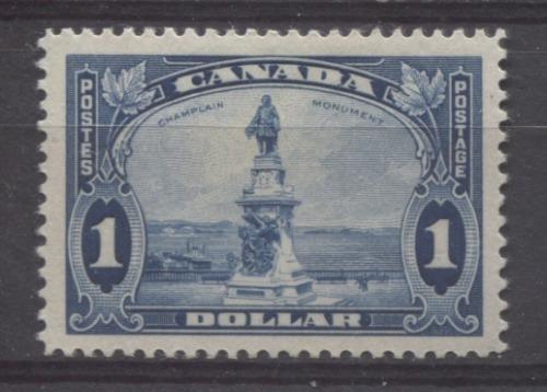 Canada #227 (SG#351) $1 Dull Blue Champlain Monument 1935-1937 Dated Die Issue VF-80 OG Brixton Chrome