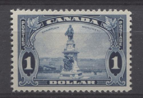 Canada #227 (SG#351) $1 Steel Blue Champlain Monument 1935-1937 Dated Die Issue VF-80 OG Brixton Chrome