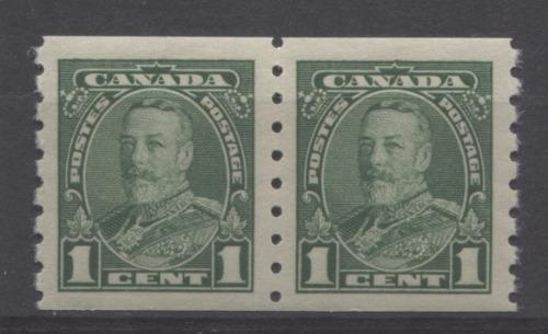 Canada #228 (SG#352) 1c Deep Bright Green King George V 1935-1937 Dated Die Issue Coil Pair VF-84 OG Brixton Chrome