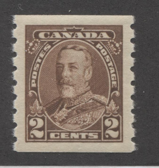 Canada #229 (SG#353) 2c Deep Brown King George V 1935-1937 Dated Die Issue Coil, A Perfect Mint OG Example Brixton Chrome