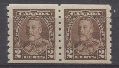 Canada #229 (SG#353) 2c Deep Brown King George V 1935-1937 Dated Die Issue Coil Pair With Mis-Aligned Perforations VF-80 OG Brixton Chrome