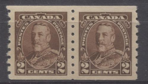 Canada #229 (SG#353) 2c Deep Reddish Brown King George V 1935-1937 Dated Die Issue Coil Pair VF-80 OG Brixton Chrome