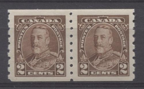 Canada #229 (SG#353) 2c Deep Reddish Brown King George V 1935-1937 Dated Die Issue Coil Pair VF-84 OG Brixton Chrome
