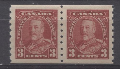 Canada #230 (SG#354) 3c Carmine Red King George V 1935-1937 Dated Die Issue Coil Pair VF-80 OG Brixton Chrome