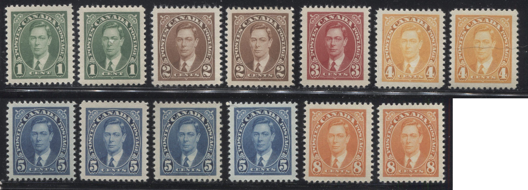 Canada #231-236 1c Green - 8c Orange King George VI, 1937-1942 Mufti Issue, A Group of Very Fine NH Singles Showing Different Shades, Papers and Gum Types Brixton Chrome