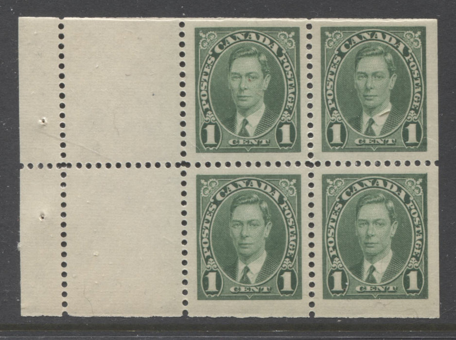 Canada #231a 1c Green King George VI, 1937-1942 Mufti Issue, VFNH Booklet Pane of 4 +2 Labels From Combination Booklet, Ribbed Wove Paper, Deep Yellowish Cream Gum Brixton Chrome
