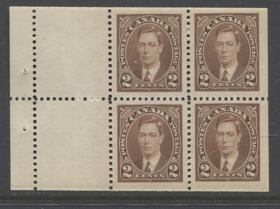 Canada #232a 2c Brown King George VI, 1937-1942 Mufti Issue, VFNH Booklet Pane of 4 +2 Labels From Combination Booklet, Ribbed Wove Paper, Streaky Brownish Cream Gum Brixton Chrome