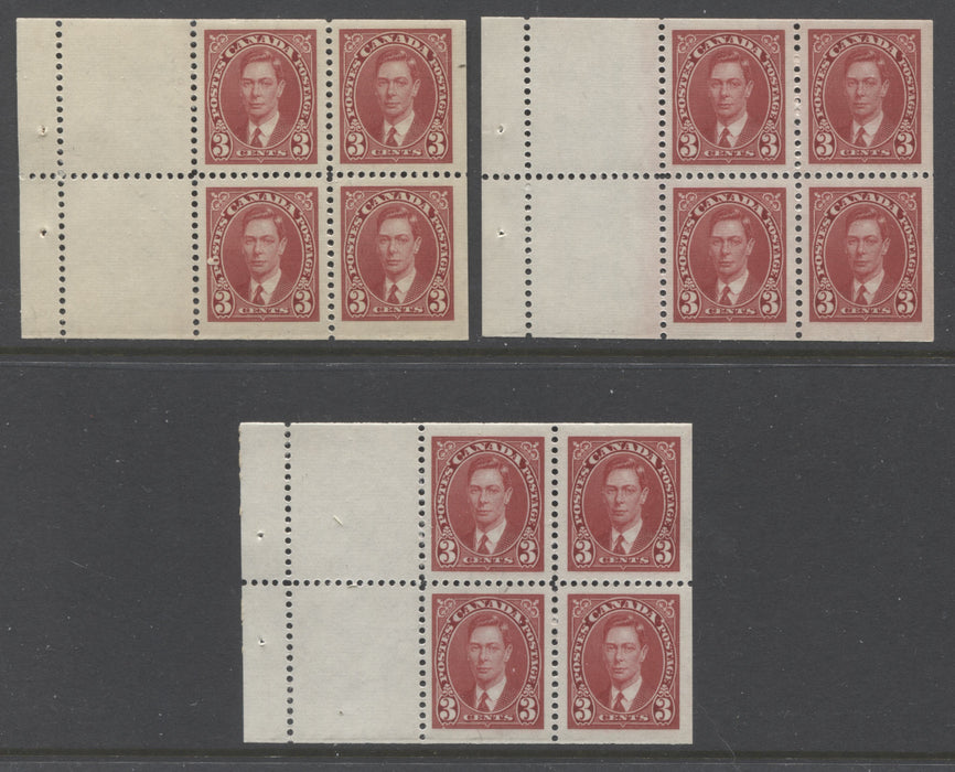 Canada #233a 3c Carmine King George VI, 1937-1942 Mufti Issue, Group of 3 Different VFNH Booklet Panes of 4 +2 Labels, Each Printed in a Different Shade or on Different Papers With Different Gum Types Brixton Chrome