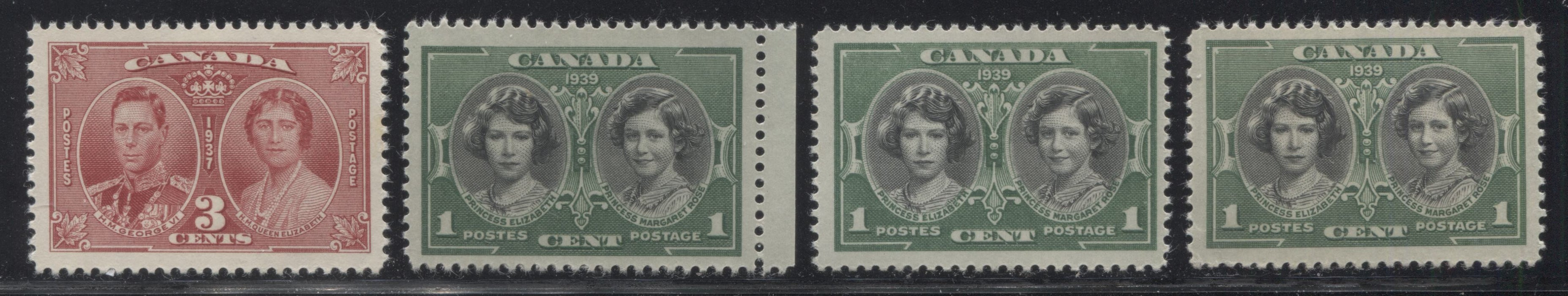 Canada #237/248 1937 Coronation & 1939 Royal Visit Issue , A Group of Very Fine NH Singles Showing Different Shades, Papers and Gum Types Brixton Chrome