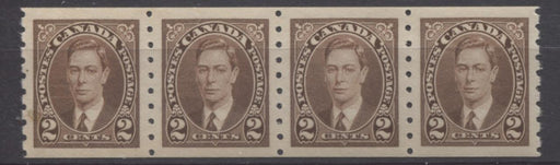 Canada #239 (SG#369) 2c Deep Brown King George VI 1937-1942 Mufti Issue Coil Strip of 4 VF-84 NH Brixton Chrome