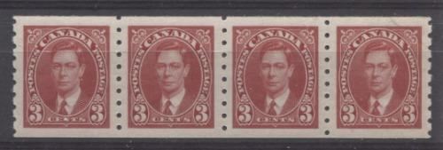 Canada #240 (SG#370) 3c Carmine Red King George VI 1937-1942 Mufti Issue Coil Strip SUP-98 NH Brixton Chrome