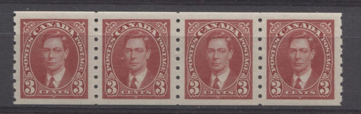 Canada #240 (SG#370) 3c Carmine Red King George VI 1937-1942 Mufti Issue Coil Strip VF-80 NH Brixton Chrome