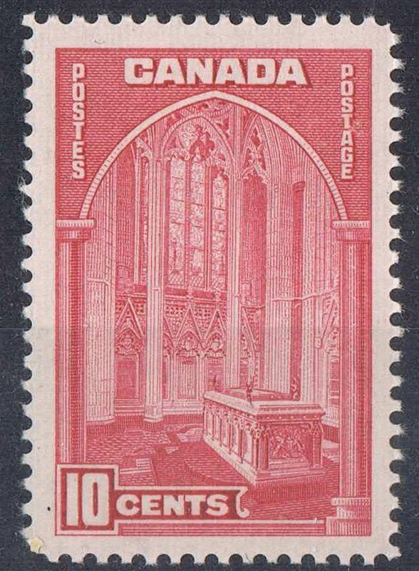 Canada #241a (SG#363) 10c Rose Carmine Memorial Chamber 1938-1942 Mufti Issue VF-82 NH Brixton Chrome