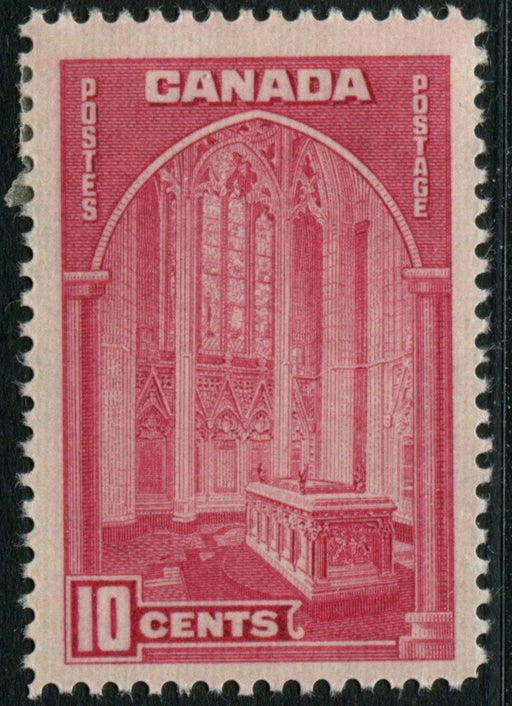 Canada #241a (SG#363) 10c Rose Carmine Memorial Chamber 1938-42 Mufti Issue - F-70 OG Brixton Chrome