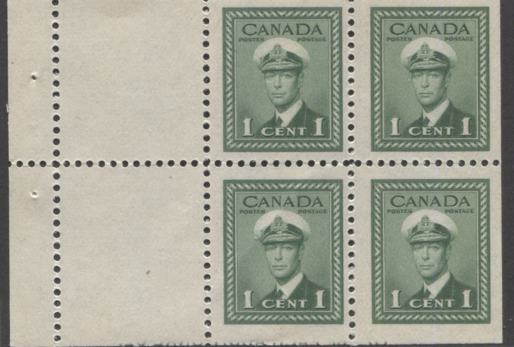 Canada #249a 1c Green King George VI 1942-49 War Issue Booklet Pane of 4 +2 Labels, A Fine NH Example Showing Offset of Rate Page Text at Bottom Margin Brixton Chrome