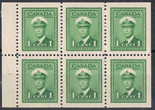 Canada #249b (SG#375b) 1c Green 1942-49 War Issue Booklet Pane of 6 - VF-80 NH Brixton Chrome