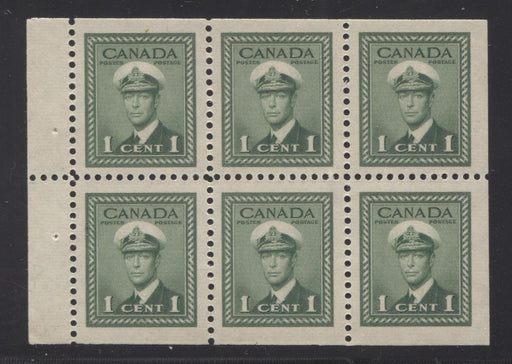 Canada #249b (SG#375b) 1c Green King George VI 1942-49 War Issue Booklet Pane of 6 VF-80 NH Brixton Chrome