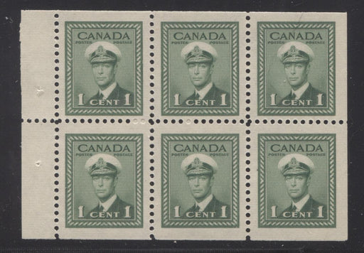 Canada #249b (SG#375b) 1c Pale Green King George VI 1942-49 War Issue Booklet Pane of 6 VF-75 NH Brixton Chrome
