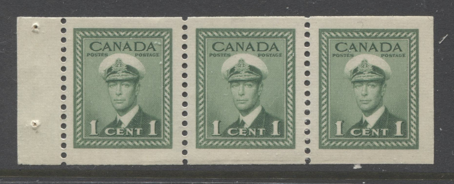 Canada #249c 1c Green King George VI, 1942-1949 War Issue, A Very Fine Mint NH Example of the Chewing Gum Booklet Pane Brixton Chrome