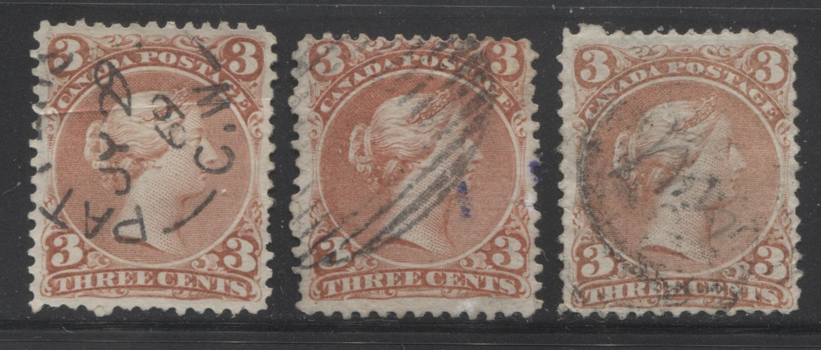 Canada #25 3c Dull Red, Red and Venetian Red Queen Victoria, 1868-1897 Large Queen Issue, Good and Very Good Used Singles on Duckworth Papers 9 and 10 Brixton Chrome