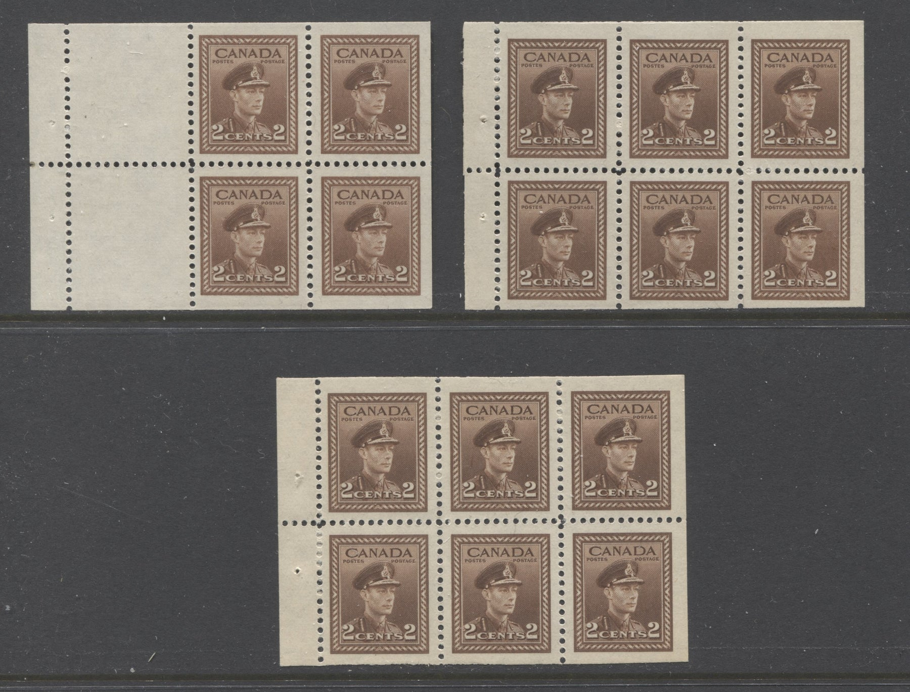 Canada #250a, 250b 2c Brown King George VI, 1942-1949 War Issue, A Group of 3 VFNH Booket Panes of 6, and 4 +2 Labels, Printed on Different Papers and With Different Tab Widths Brixton Chrome