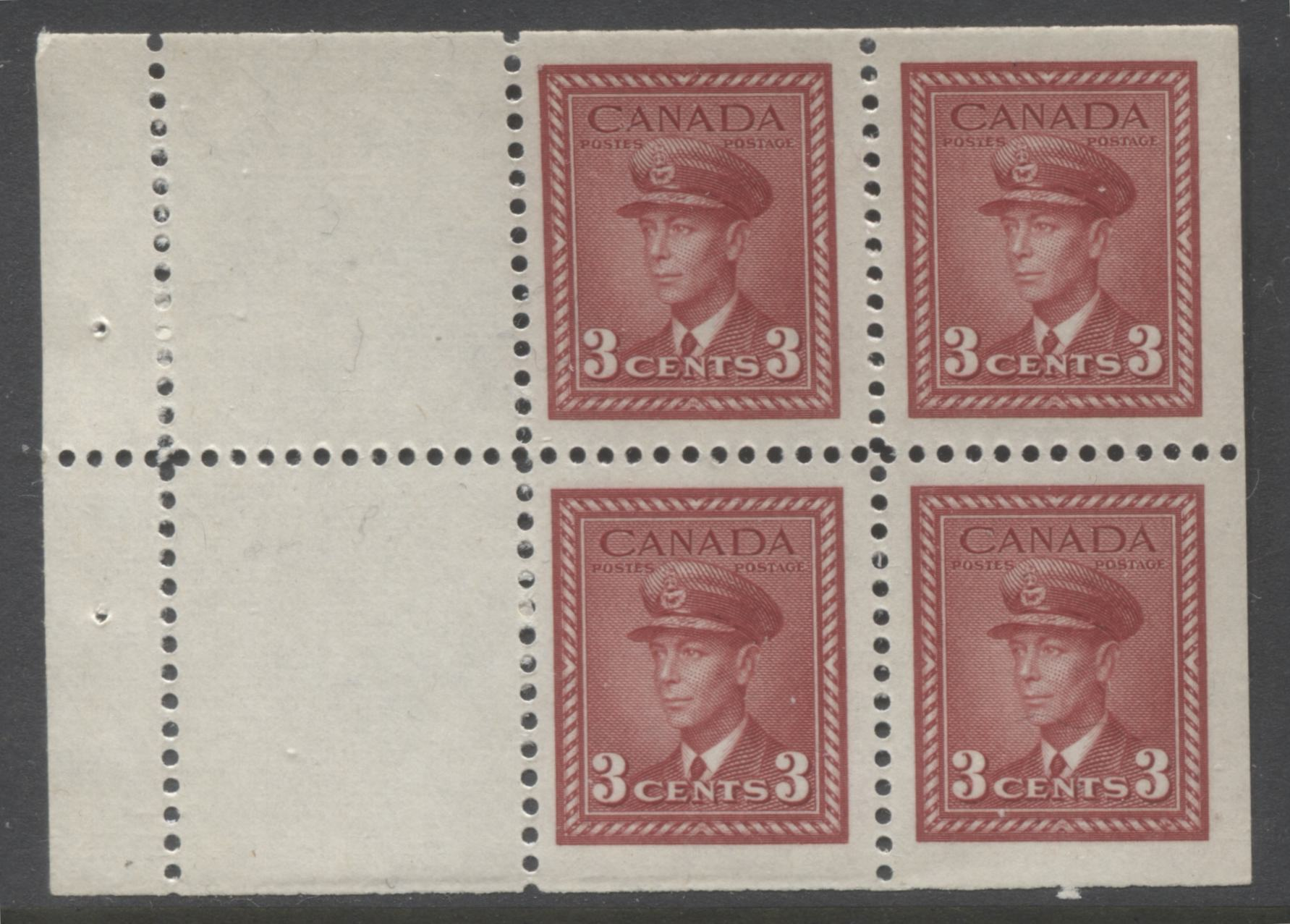 Canada #251a 3c Carmine Red King George VI, 1942-1949 War Issue, A Very Fine Mint NH Example of the Booklet Pane of 4 + 2 Labels Brixton Chrome