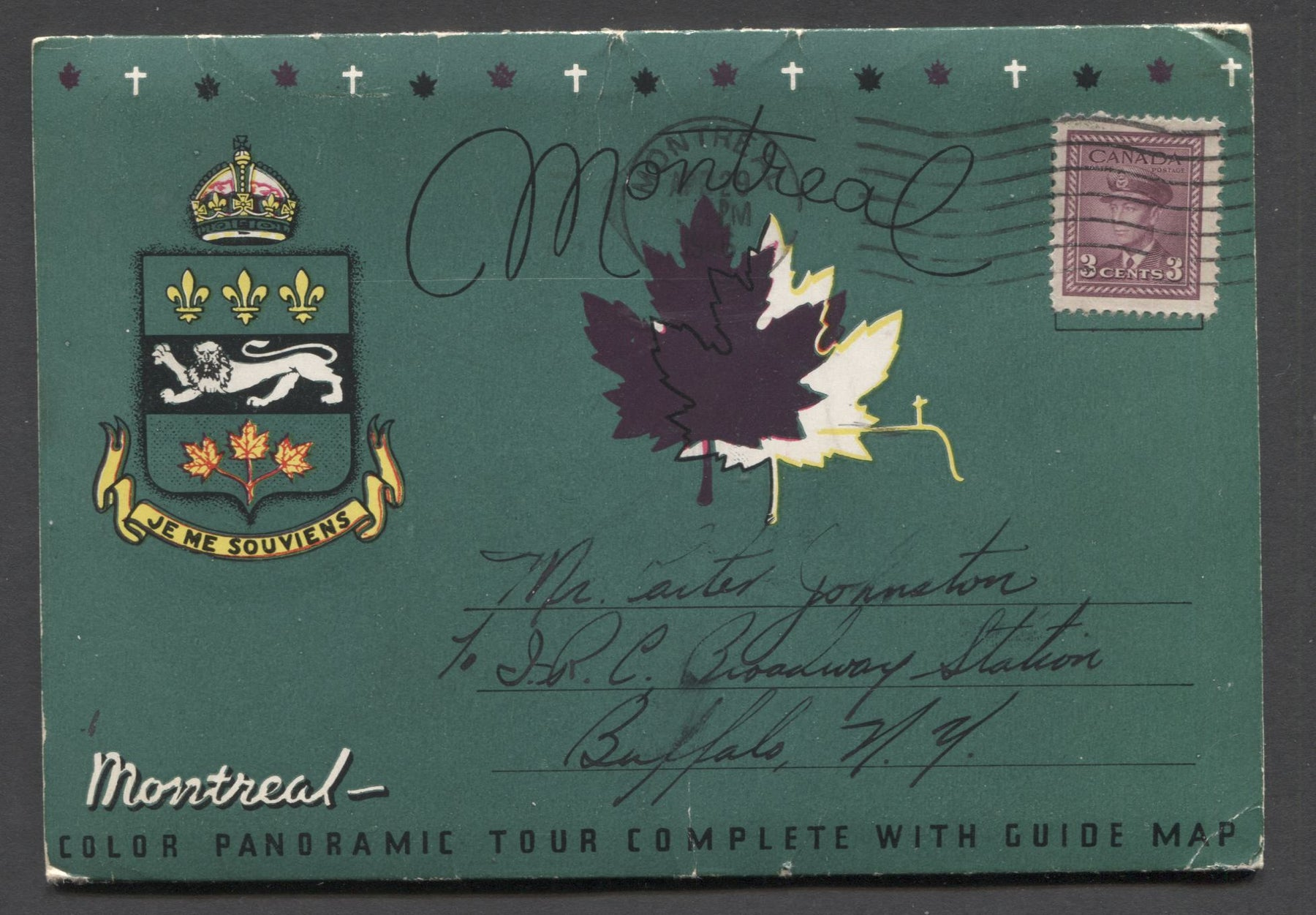Canada #252 3c Rose Plum King George VI 1942-1949 War Issue, Single Used on an Intact Panoramic View Folio for the City of Montreal Brixton Chrome