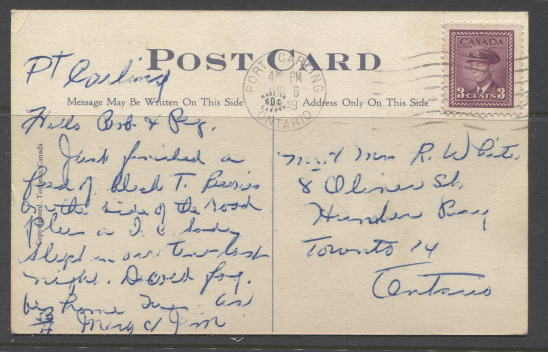 Canada #252 3c Rose Plum King George VI 1942-1949 War Issue, Single Used on Humerous 1949 Postcard From Port Carling, ON to Toronto, ON Brixton Chrome
