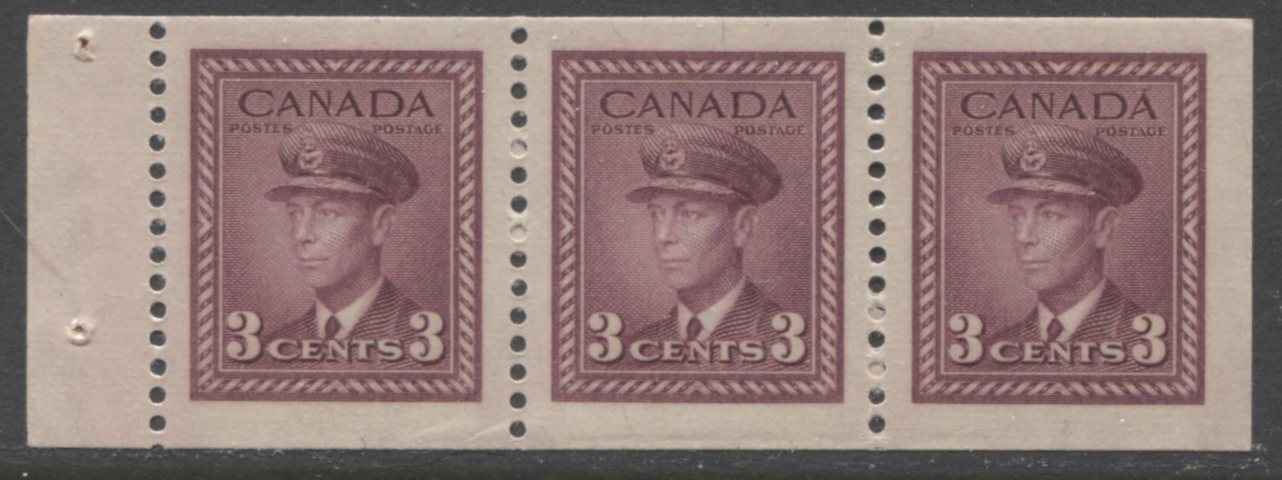 Canada #252b 3c Rose Purple King George VI, 1942-1949 War Issue, A Very Fine Mint NH Example of the Chewing Gum Booklet Pane Brixton Chrome
