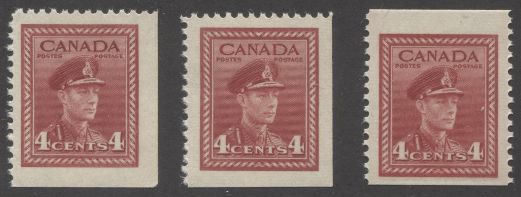 Canada #254as, 254bs 4c Carmine-Red King George VI, 1942-1949 War Issue, A Group of 3 Fine and Very Fine NH Booket Singles From Different Panes of 6, and 3, Printed on Different Papers Brixton Chrome