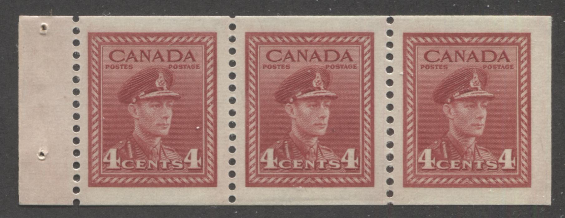 Canada #254b 4c Carmine-Red King George VI, 1942-1949 War Issue, A Very Fine Mint NH Example of the Chewing Gum Booklet Pane Brixton Chrome