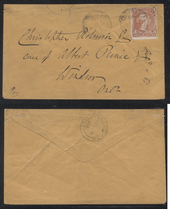 Canada #25iii 3c Ventian Red Queen Victoria, 1868-1897 Large Queen Issue, Single Usage on November 1869 Cover From Toronto Brixton Chrome