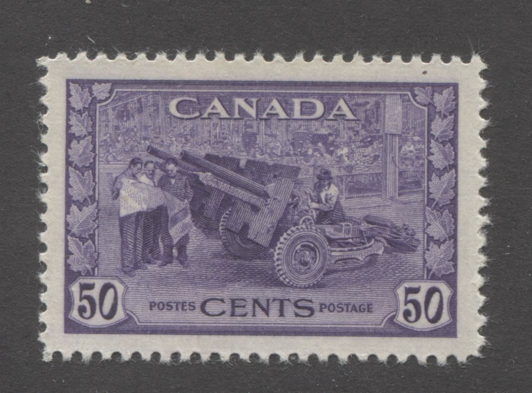 Canada #261 50c Purple Violet Munitions, 1942-1949 War Issue, A Very Fine Mint LH Example of an Early Printing From 1944 or 1945 Brixton Chrome